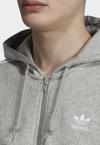 adidas Originals - ADICOLOR 3 STRIPES HOODIE - Felpa aperta - grey - 3
