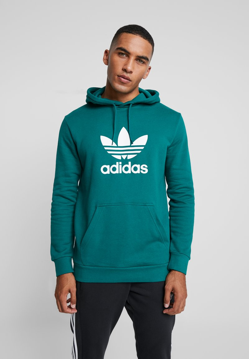 adidas Originals - ADICOLOR TREFOIL HOODIE - Bluza z kapturem - noble green/white