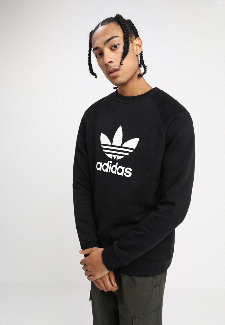 adidas Originals - ADICOLOR TREFOIL PULLOVER - Sweater - black