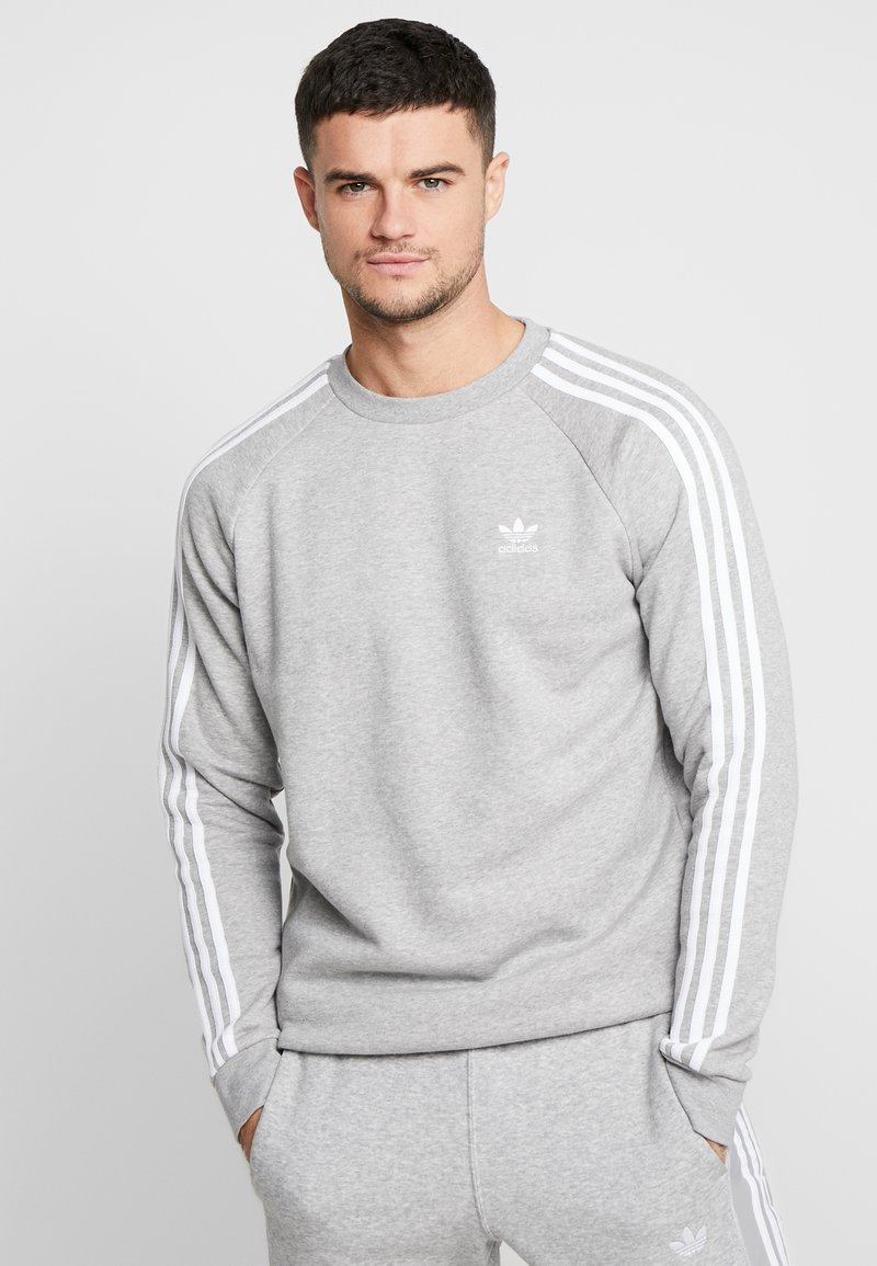 adidas Originals - STRIPES CREW - Sweatshirt - medium grey heather