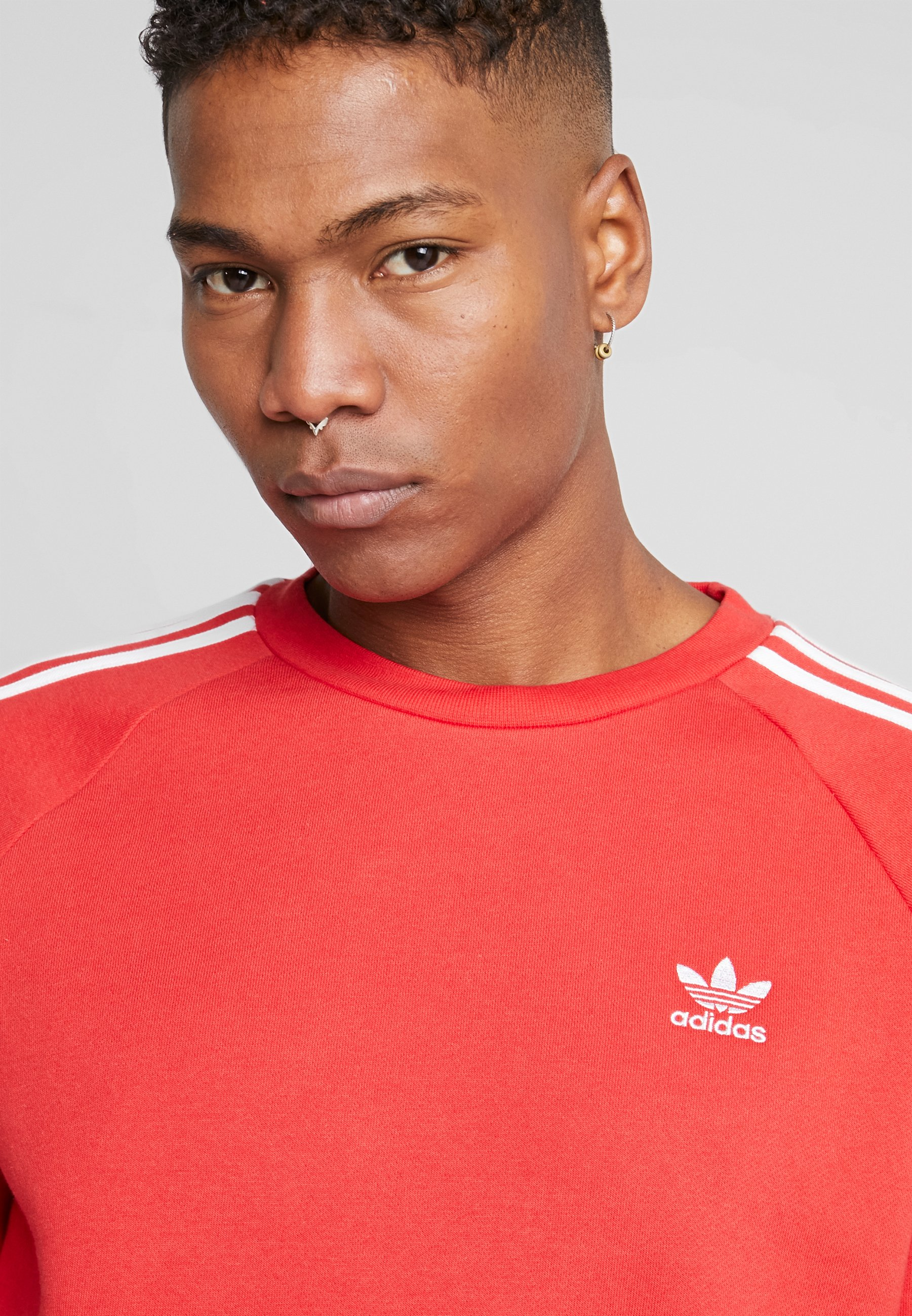 Adidas Originals Stripes Crew - Sweatshirt Lush Red