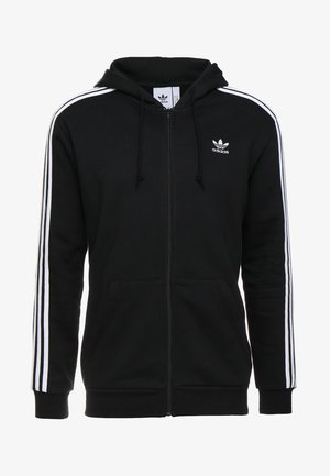 3-STRIPES  - Huvtröja med dragkedja - black