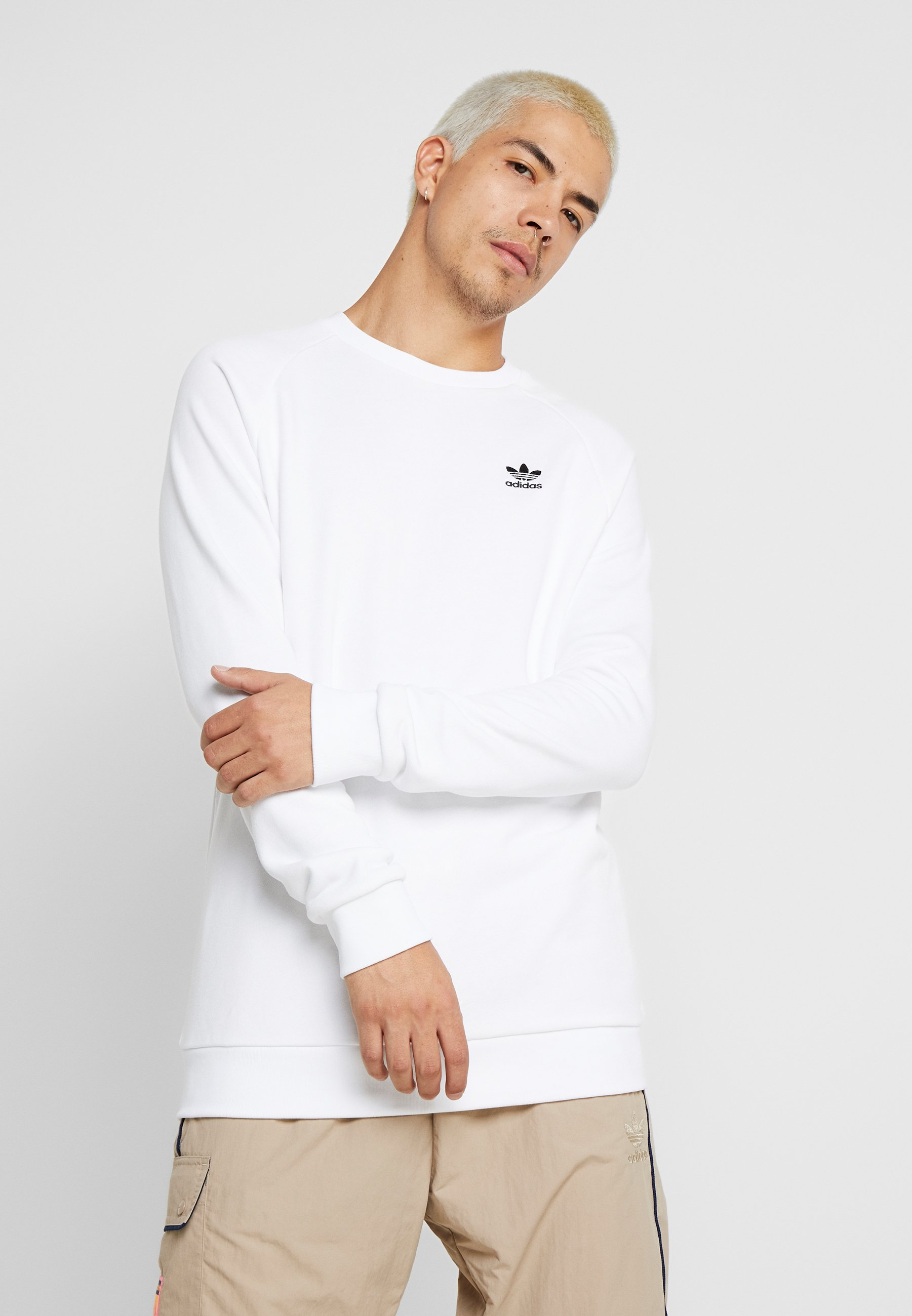 adidas Originals TREFOIL ESSENTIALS LONG SLEEVE PULLOVER - Bluza - white/black