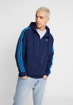 ADICOLOR 3 STRIPES HALF-ZIP HOODIE - Hoodie - collegiate navy/bluebird