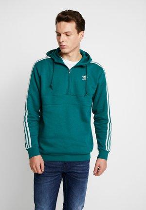 ADICOLOR 3 STRIPES HALF-ZIP HOODIE - Bluza z kapturem - noble green/vapour green