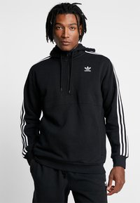 adidas Originals - ADICOLOR 3 STRIPES HALF-ZIP HOODIE - Hoodie - black - 0