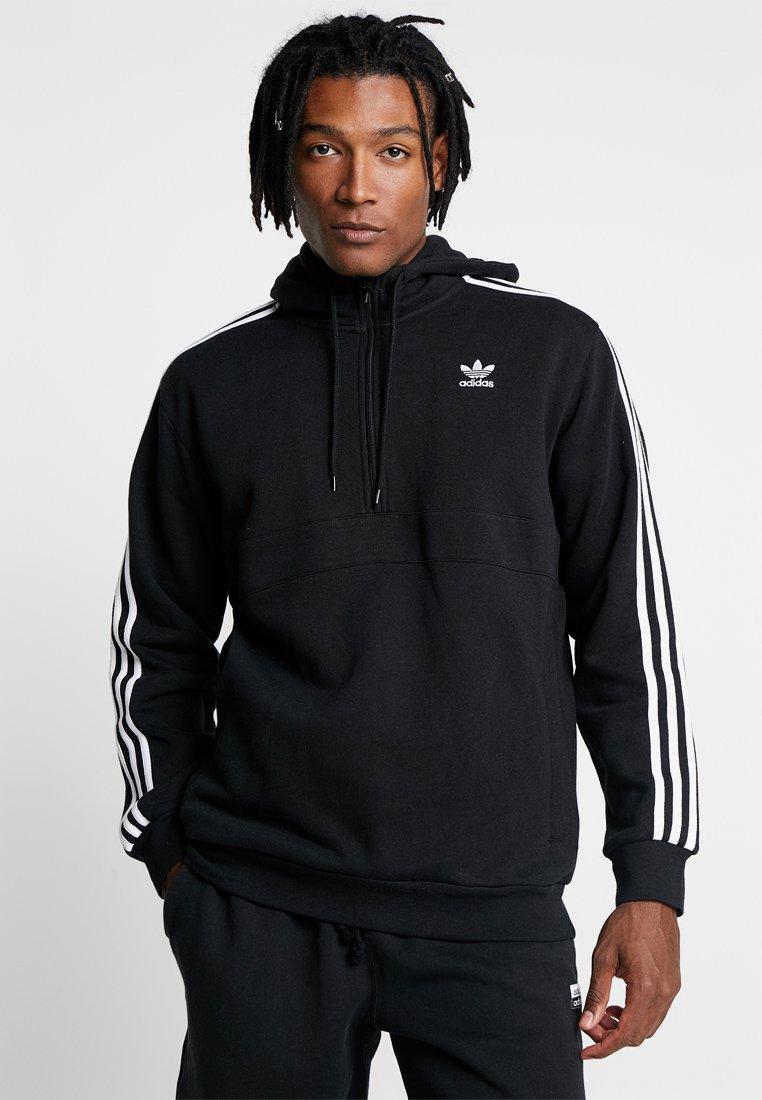 adidas Originals - ADICOLOR 3 STRIPES HALF-ZIP HOODIE - Hoodie - black