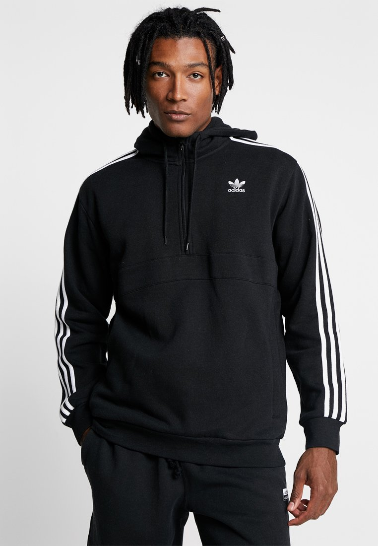 adidas Originals - ADICOLOR 3 STRIPES HALF-ZIP HOODIE - Kapuzenpullover - black