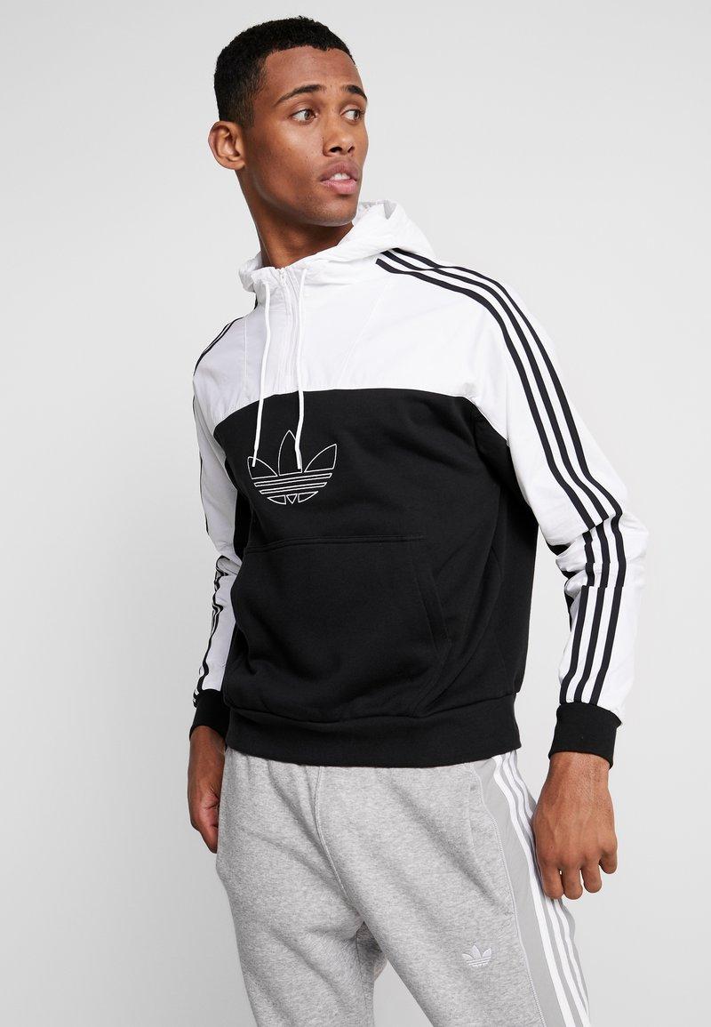 adidas Originals - MIXED HOODY - Kapuzenpullover - black/white