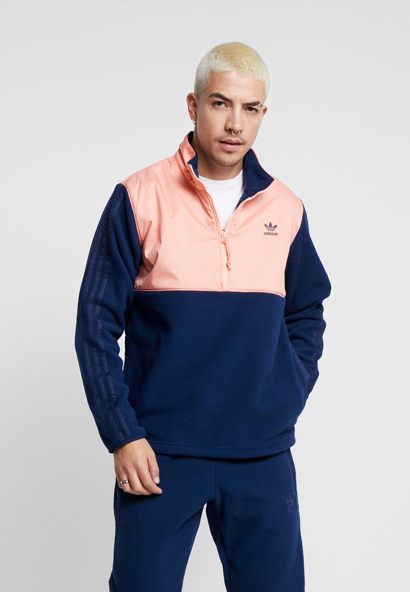 adidas Originals - WINTERIZED HALF-ZIP TOP - Fleecetrøjer - coll navy/chalk coral /ref silver