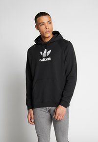 adidas Originals - ADICOLOR PREMIUM TREFOIL HODDIE SWEAT - Bluza z kapturem - black - 0
