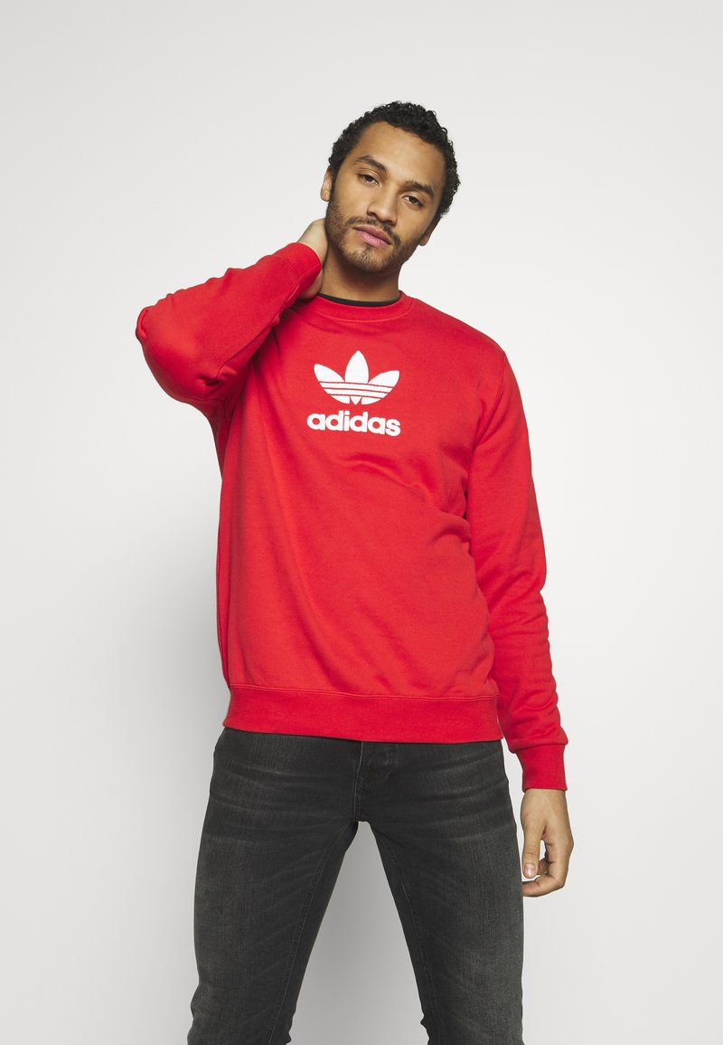 adidas Originals - ADICOLOR PREMIUM LONG SLEEVE PULLOVER - Collegepaita - lusred