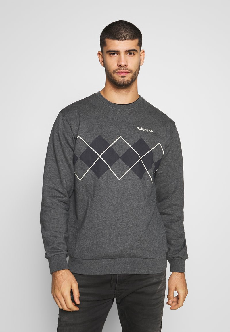adidas Originals - ARGYLE CREWNECK LONG SLEEVE PULLOVER - Collegepaita - mottled dark grey