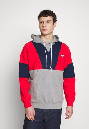 HOODY - Hoodie - red/mottled grey/dark blue