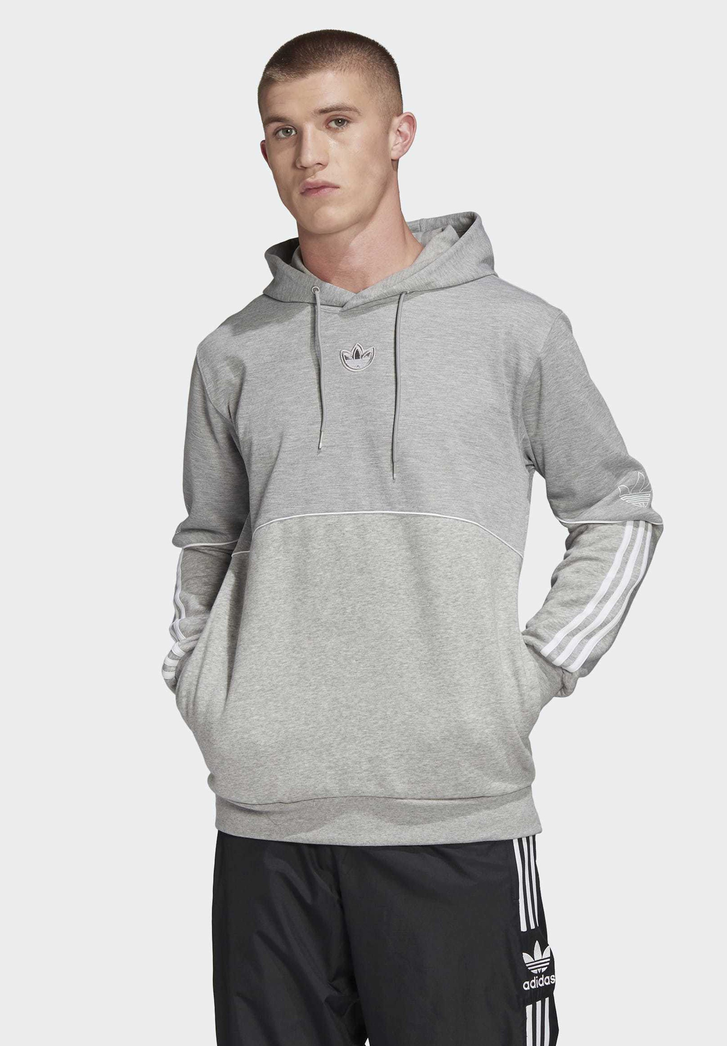 adidas Originals OUTLINE HOODIE - Bluza z kapturem - grey
