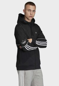 adidas Originals - OUTLINE HOODIE - Felpa aperta - black - 3