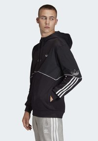 adidas Originals - OUTLINE HOODIE - Felpa aperta - black - 2