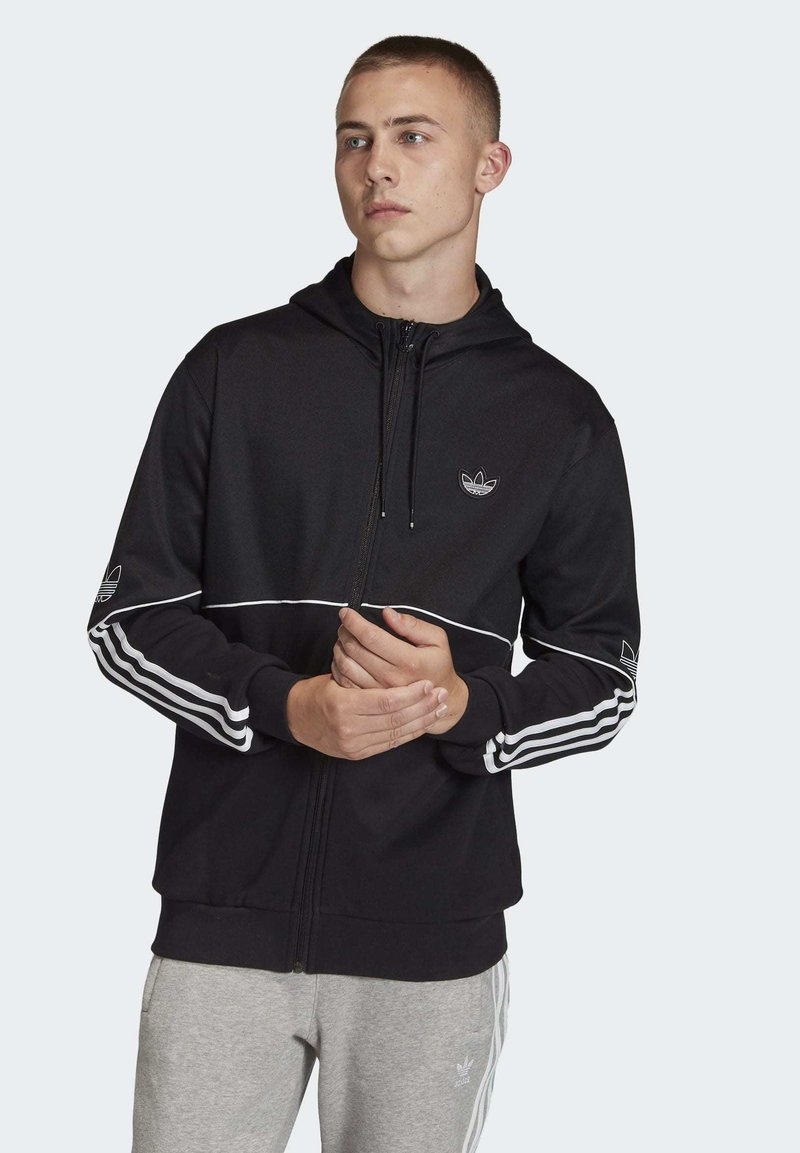 adidas Originals - OUTLINE HOODIE - Felpa aperta - black