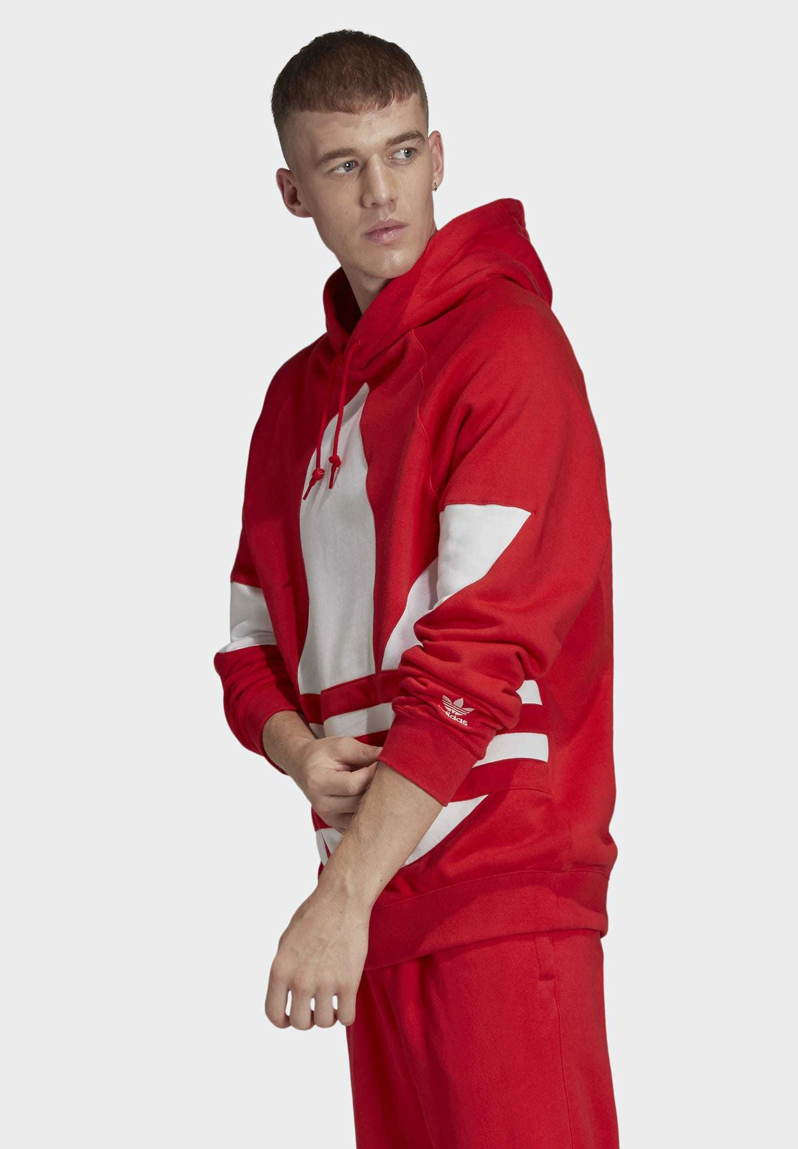adidas Originals BIG TREFOIL HOODIE - Bluza z kapturem - red