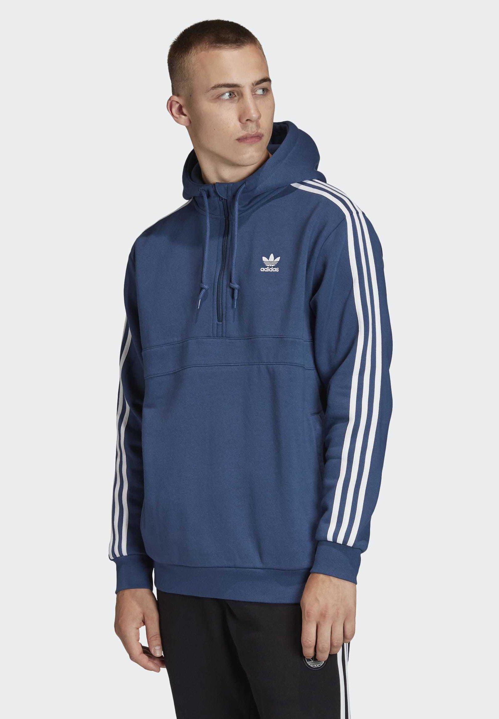 adidas Originals 3-STRIPES HOODIE - Bluza z kapturem - blue