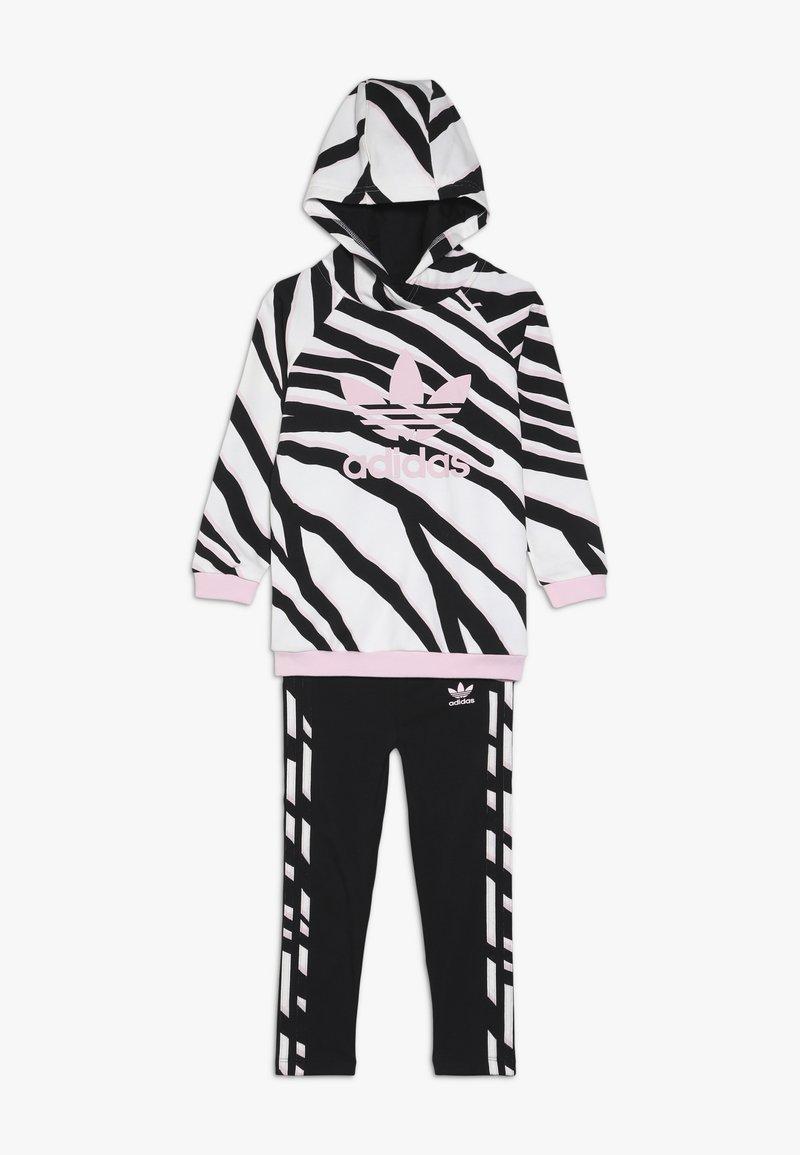 adidas Originals - HOODIE SET - Tracksuit - black/white/clear pink