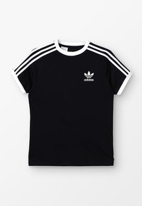 adidas Originals - 3 STRIPES TEE - Print T-shirt - black/white - 0