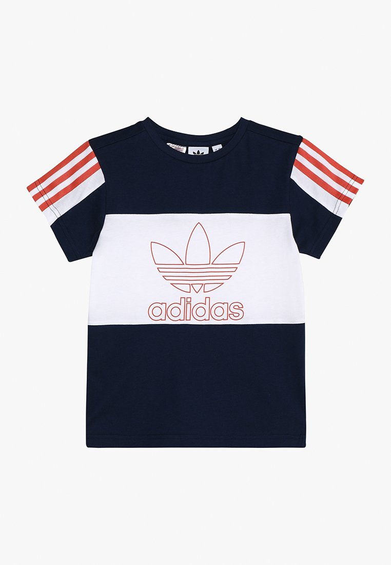 adidas Originals - OUTLINE TEE - T-shirt med print - collegiate navy/white/raw amber