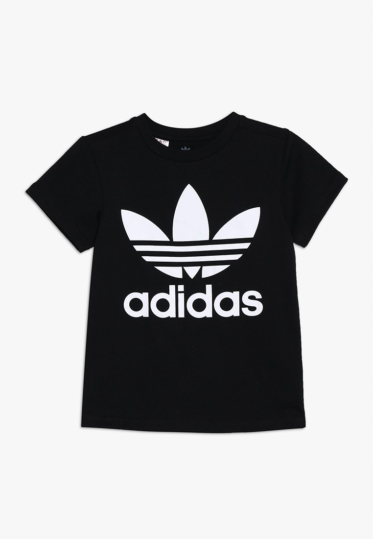 adidas Originals - TREFOIL - Print T-shirt - black/white