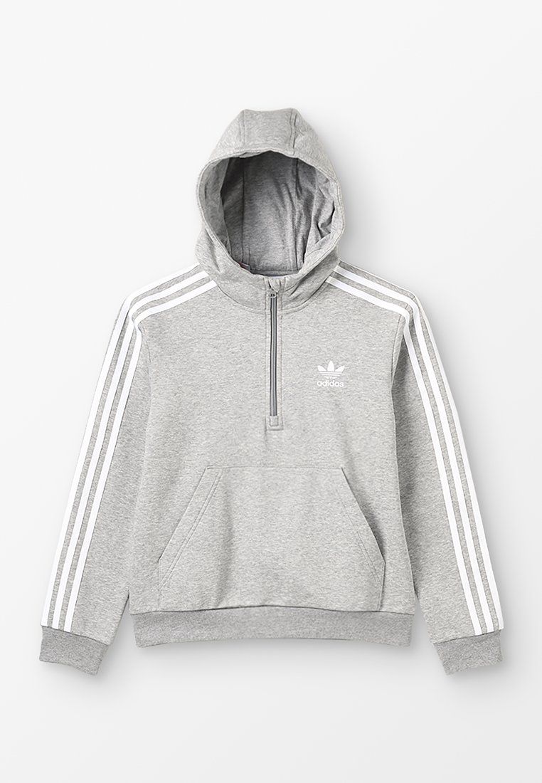 adidas Originals - HALFZIP HOODIE - Jersey con capucha - medium grey heather/white