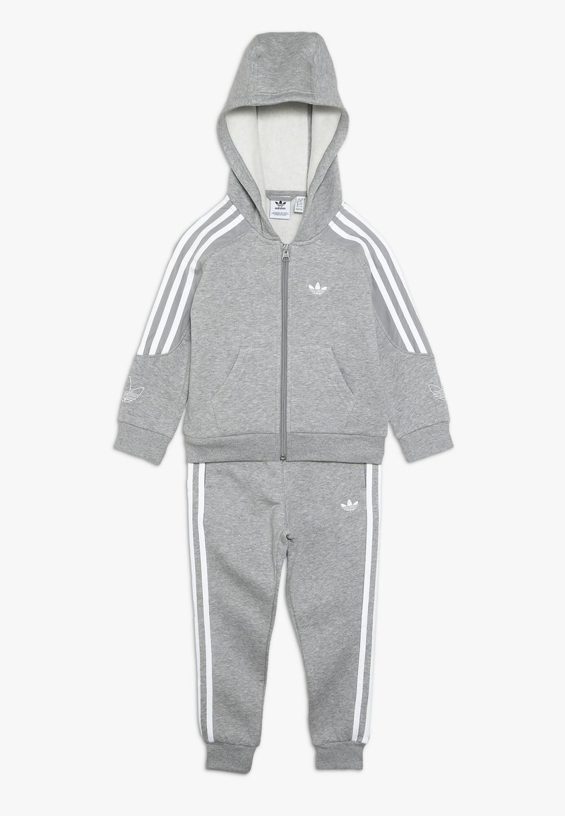 adidas Originals - OUTLINE HOODIE - Zip-up hoodie - medium grey heather/white