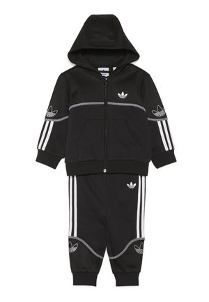 OUTLINE FZ HOOD - veste en sweat zippée - black/white