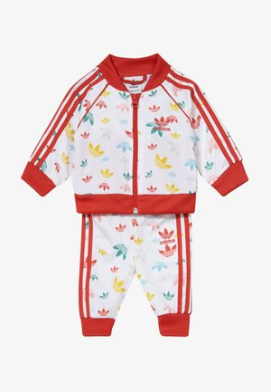 SET - Mikina na zip - white/multcoloured/red