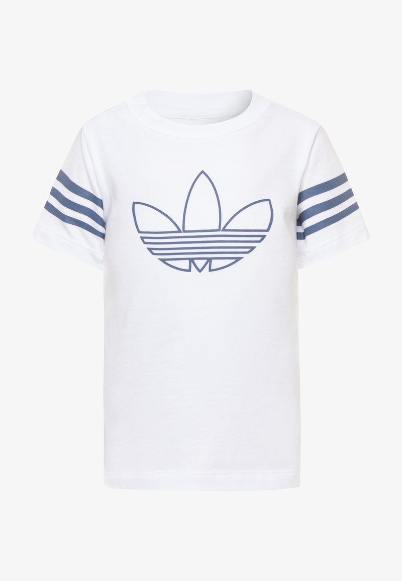 adidas Originals - OUTLINE TEE - Print T-shirt - white/techink/silver metallic