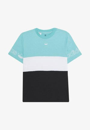 PANEL TEE - T-shirt con stampa - turquoise/white
