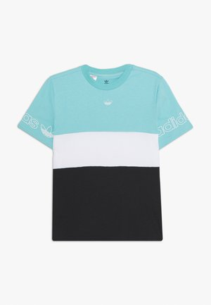 PANEL TEE - T-shirt print - turquoise/white
