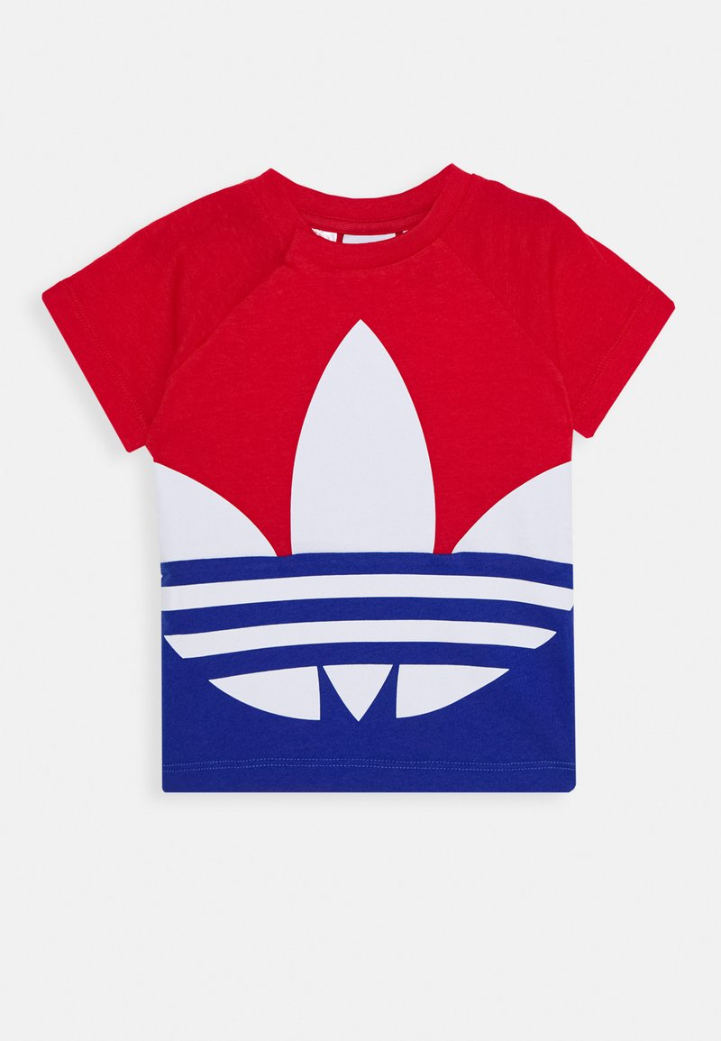 adidas Originals - BIG TREFOIL TEE  - Camiseta estampada - scarlet/royal blue/white