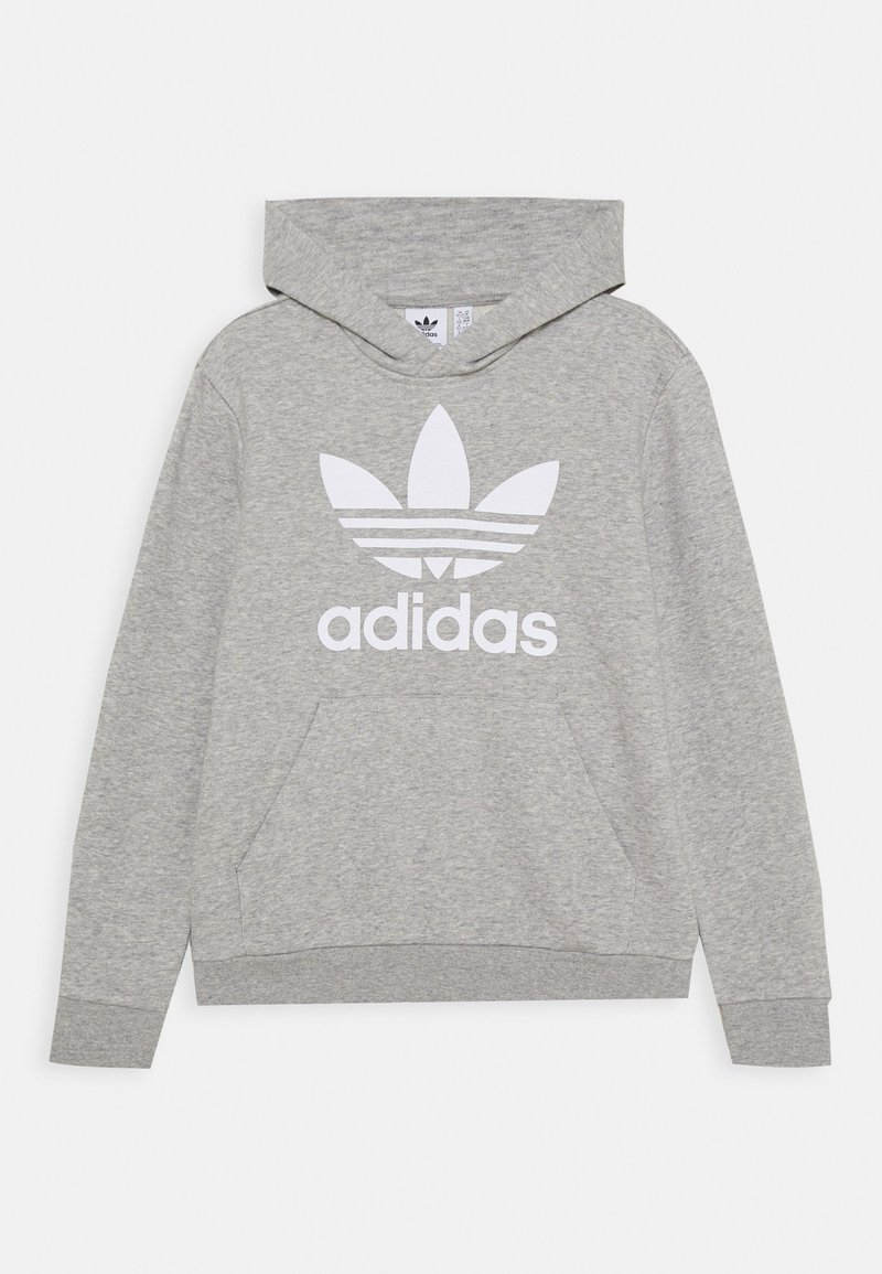 adidas Originals - TREFOIL HOODIE - Jersey con capucha - medium grey heather/white