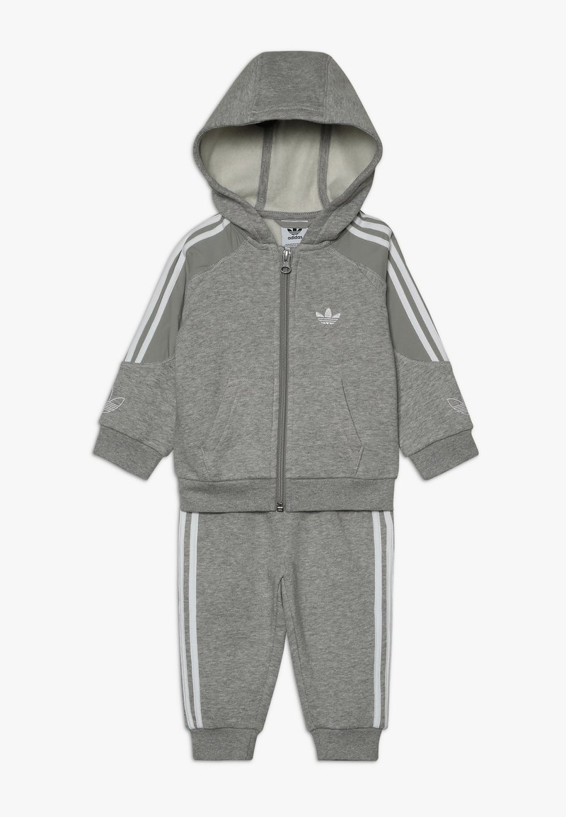 adidas Originals - OUTLINE HOODIE SET - Mikina na zip - medium grey heather/white
