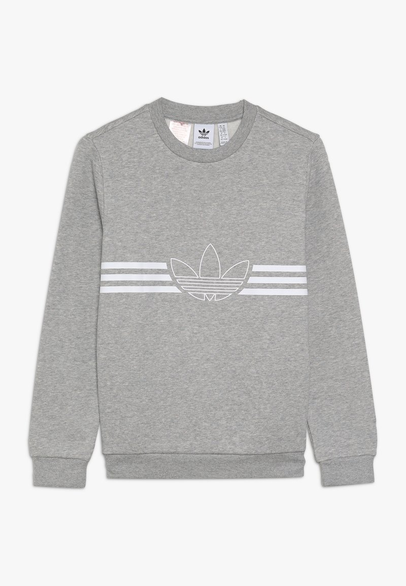 adidas Originals - OUTLINE CREW - Sweatshirt - medium grey heather/white