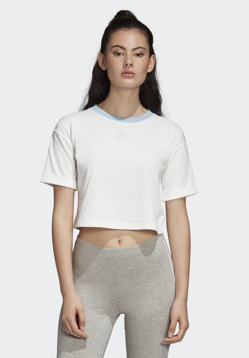 adidas Originals - CROP TOP - Printtipaita - white