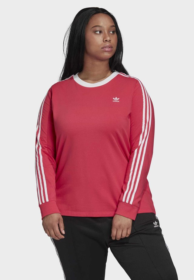 3-STRIPES LONG-SLEEVE TOP (PLUS SIZE) - Topper langermet - pink