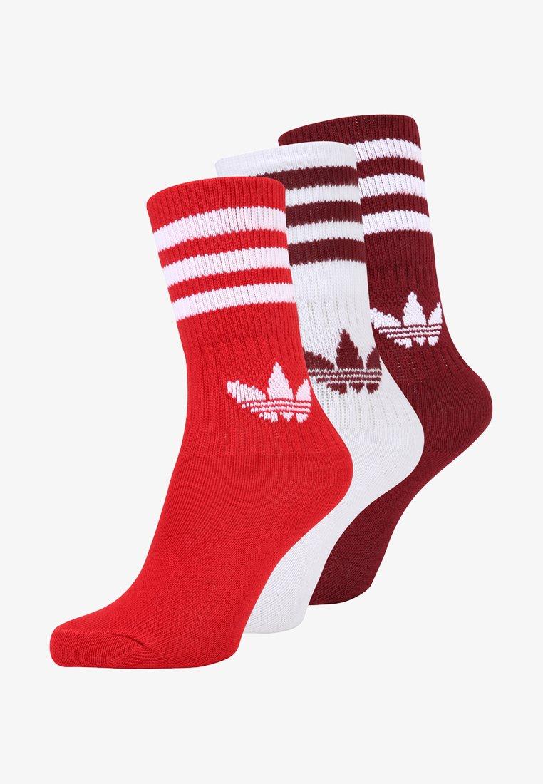 adidas Originals - SOLID CREW 3 PACK - Ponožky - burgundy/red/white