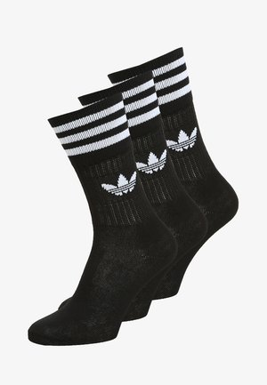 SOLID CREW 3 PACK - Socks - black/white