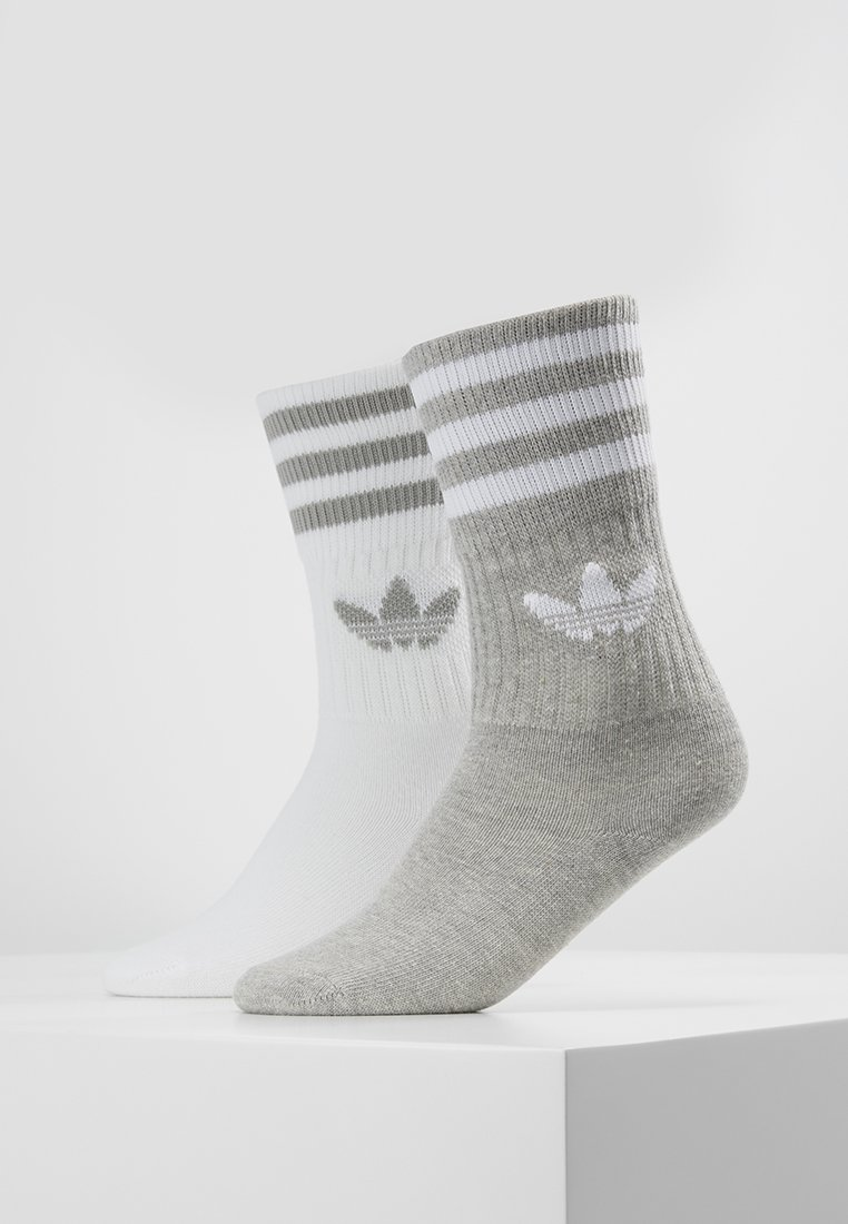 adidas Originals - SOLID CREW 2 PACK - Ponožky - medium grey heather/white