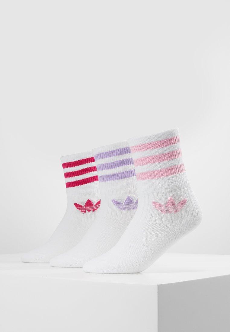 adidas Originals - MID CUT 3 PACK - Socken - white/purple glow