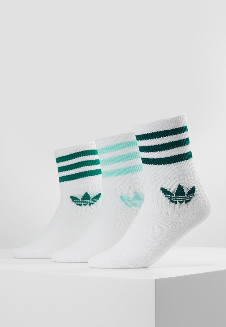 adidas Originals - MID CUT 3 PACK - Socken - white/clear mint