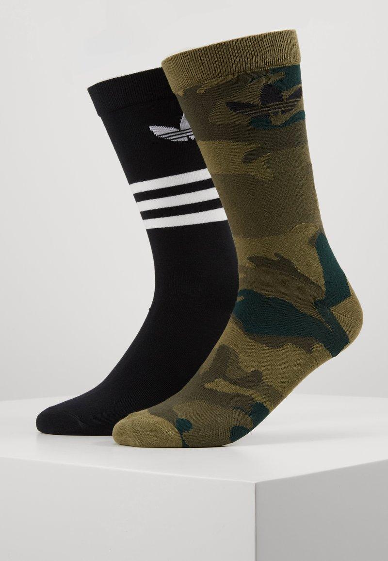 adidas Originals - CREW 2 PACK - Sokken - black/olive cargo