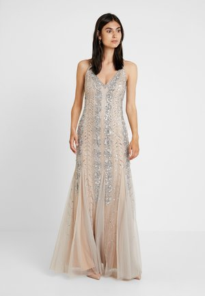 BEADED LONG DRESS - Occasion wear - silver/nude