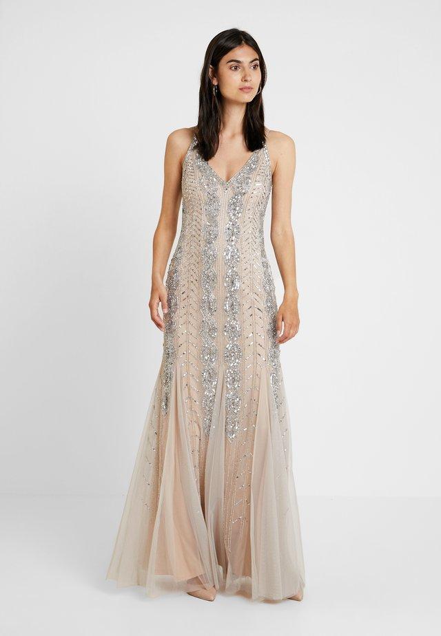 BEADED LONG DRESS - Festklänning - silver/nude