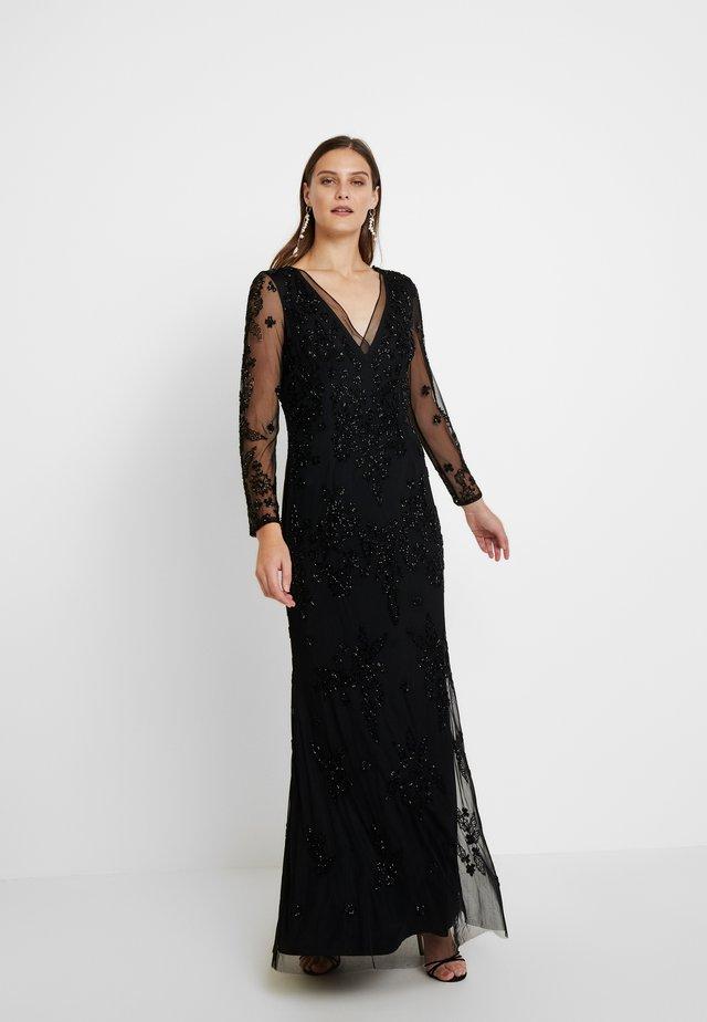 BEADED SWIRL LONG DRESS - Iltapuku - black